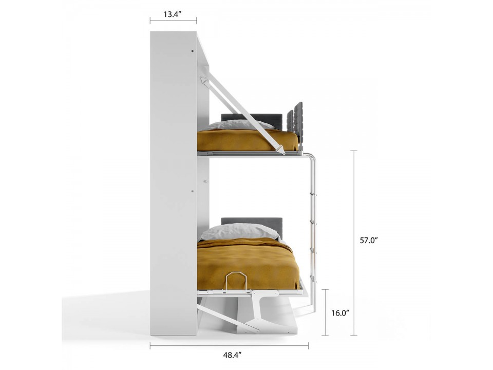 Pensiero Twin Wall Bunk Bed with Desk
