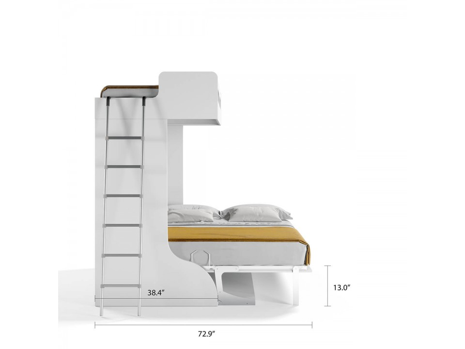 Castello Twin Over Full Wall Bunk Bed with Desk