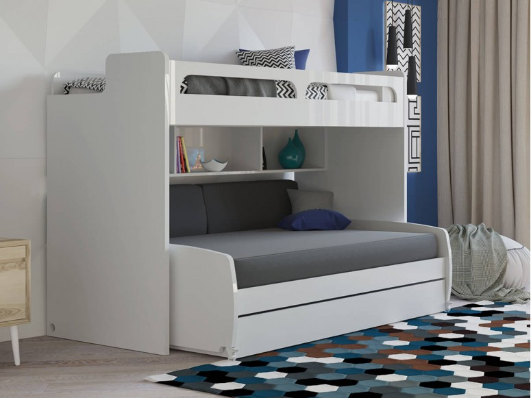 Twin Bunk with Bookshelf and Storage