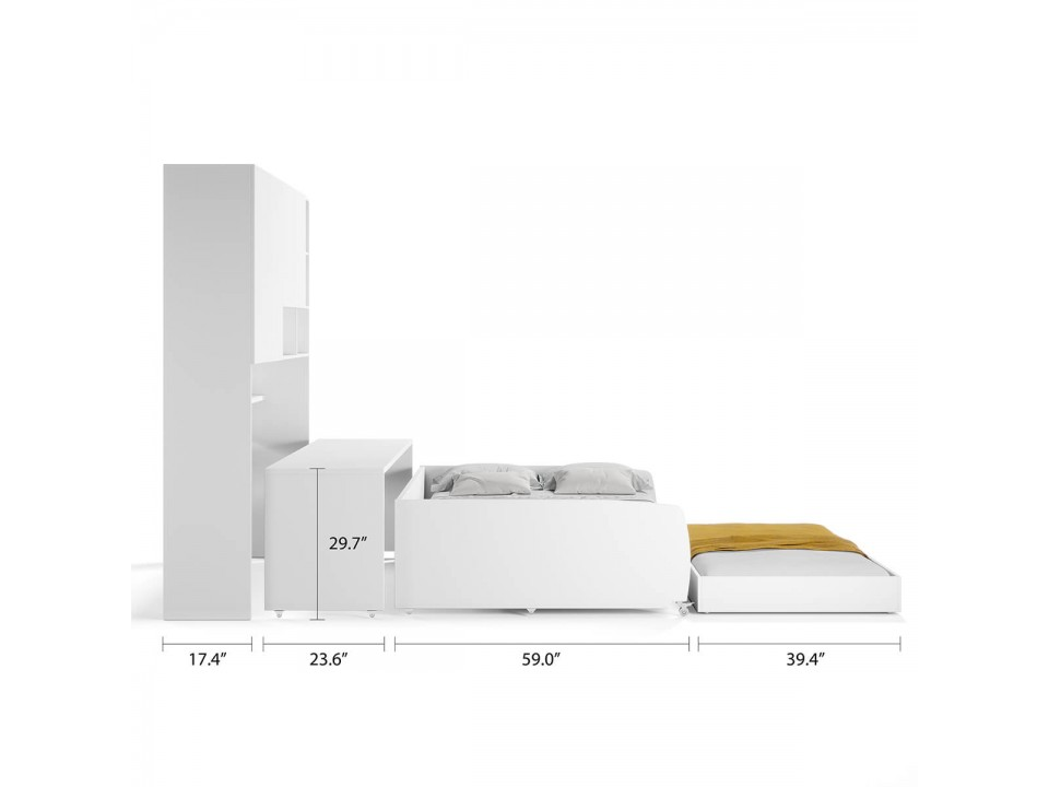 Eco Compact Full/Full XL Sofa Bed and Cabinet System