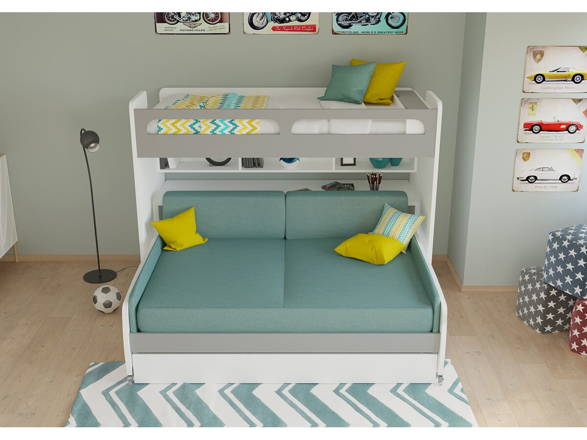 Bel Mondo Xl Twin Bunk Bed Over Full Sofa Desk And Trundle