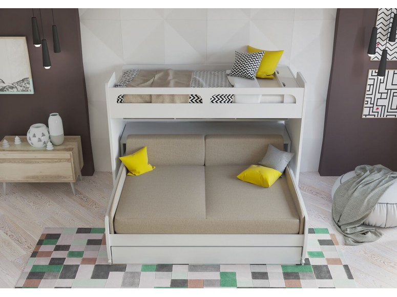 Bel Mondo Twin Bunk Bed over Full/Full XL Sofa Bed, Desk and Trundle